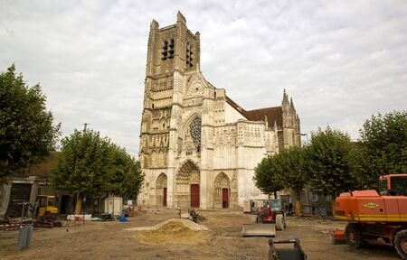 cathedral Saint Etienne, town of Auxerre , works of renovation dated october 2012 (Yonne Bourgogne France)  Editorial
