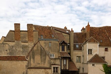 means: facades of means age, Auxerre  Burgundy France