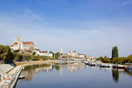 banks of the Yonne in the town of Auxerre  Bourgogne France   works arrangement banks Stock Photo - 15741967