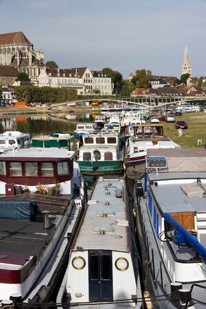 harbour zone of Auxerre, the river Yonne  Burgundy France  Stock Photo - 16163551