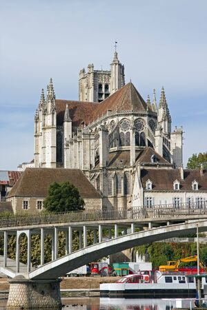 tree works: Cathedral of Auxerre seen by a bank of the river Yonne  Burgundy France