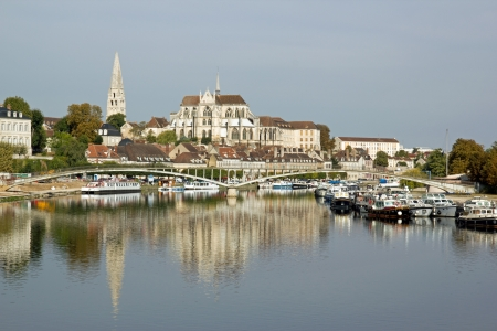 bank of the river Yonne to Auxerre  Burgundy France  Stock Photo - 16163299