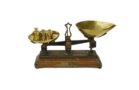 old balance, scale and its weights  grammes and kilo in french  Stock Photo