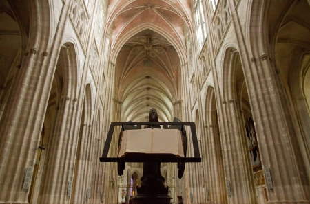 lectern: Inside of the cathedral of Auxerre  Burgundy France
