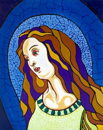 Virgin in the stained-glass window, free portrait interpretation photo