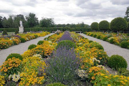 Formal garden, lavender in perspective  France Stock Photo - 17771745