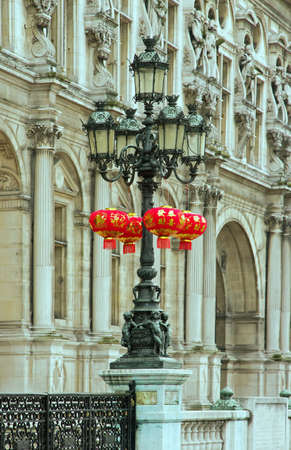 Chinese lanterns Chinese New Year under the snow, Paris  France  photo