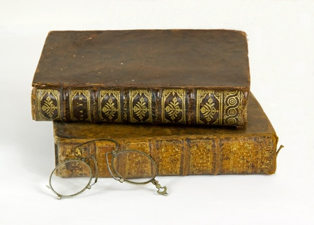 secondhand trade: Old books  18 th century  and retros glasses