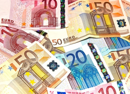 subsidy: Pile of bank notes, 10, 20, 50 euros