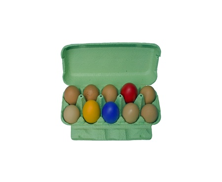 Colored eggs, the diversity in the box Stock Photo