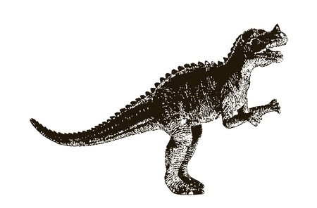 paleontologist: Dinosaur, a drawing in black and white