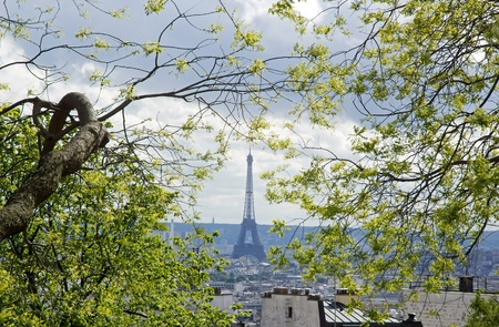 far off: Seen since the mound Montmartre, far off the Eiffel Tower  Paris France  Stock Photo