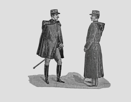 Officer of infantry and cavalry, engraving of 1898 Stock fotó