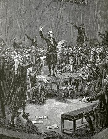 Serment デュ ジュ ドゥ ポーム、1890年フランス革命によって月 Faizan と Navellier の彫刻 報道画像
