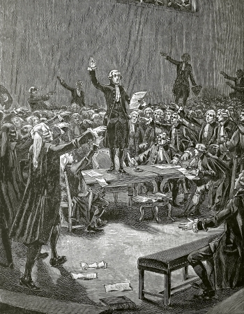 The  Serment du Jeu de Paume , engraving of Faizan and Navellier by 1890  French revolution Editorial