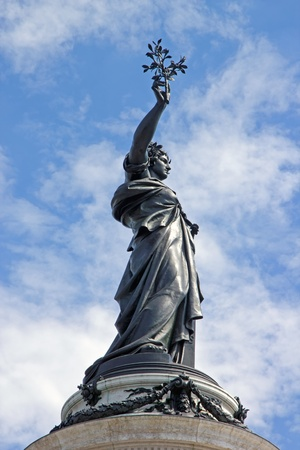 marianne: The French Republic carrying the laurel of the victory  Paris France