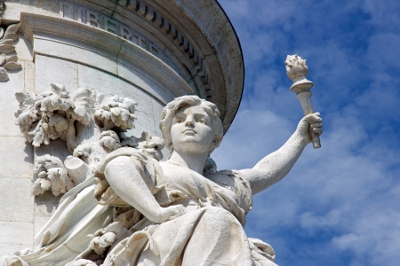 marianne: The French Republic and the torch of the victory  Paris France  Stock Photo