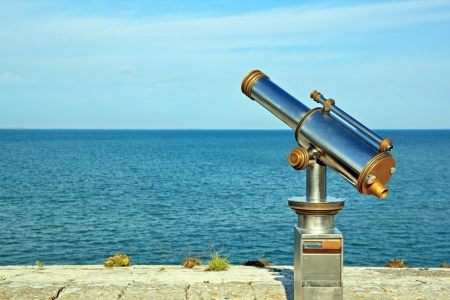 far off: Telescope pointed at the ocean, what perspective of future