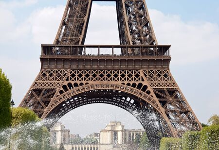 water jet: Water jet at the foot of the Eiffel Tower  Paris France   Stock Photo