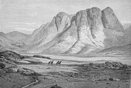 Massif of the Sinai, hatches holy Catherine, old engraving by Pottin on 1864