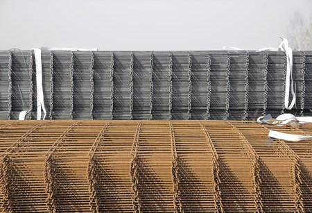 reinforcement: Steel reinforcement bars, outside storage Stock Photo
