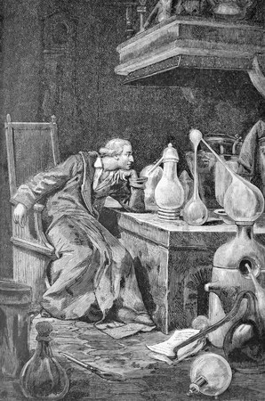 scientist in his laboratory, former engraving of the nineteenth century Stock Photo