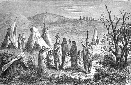 sioux: Camp of Sioux Indians, old engraving of Girardin dated on 1864  Editorial