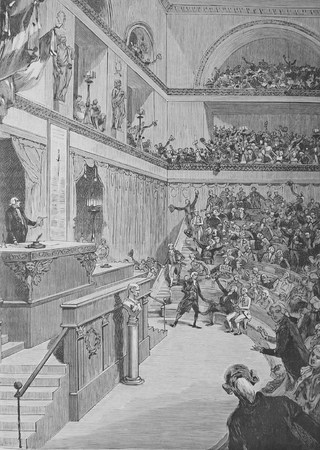 constitutional: The abolition of the monarchy, old engraving by Chauvin 1890 Editorial