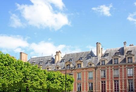 Place of Vosges and vegetation, public garden Louis XIII  Paris France