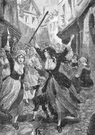 La révolte des femmes, une vieille gravure datée de plus de cent vingt ans 1890 Banque d'images - 30093665