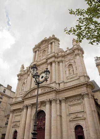 Church Saint-Paul Saint-Louis, bad weather on Paris  France
