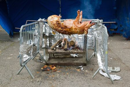 Pig in the brooch, a system of cooking improvised for a big banquet photo