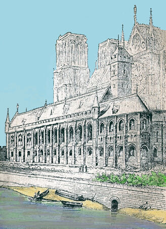 13th century: Notre Dame in the 13th century  Paris France   Modern watercolor illustration from a 19th century  Stock Photo