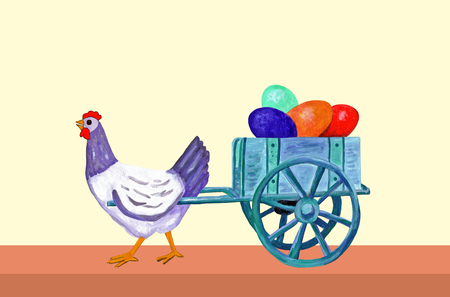 gaiety: Hen of Easter icts with trolley of eggs