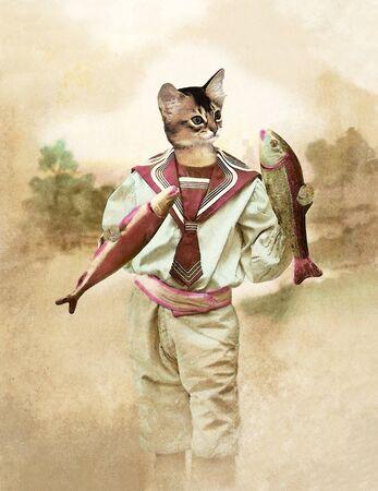 cat suit: Cat April fool, retro cat wearing shorts as in 1900