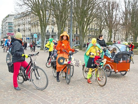 The Velorution Lille (59 Nord, France) Saturday, March 14, 2015, in front of the Palais des Beaux Arts. Carnival bike, to promote the use of means of clean personal transportation (cycling, roller skating, skateboarding).