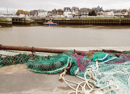 fishing net: Fishing Net Trouville Normandy France.