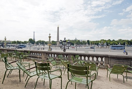 concorde: Concorde and Eiffel Tower views of the Tuileries Garden Paris France