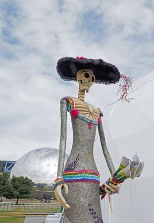 parc: Exhibition and virtual visit on Mexico. Paris, the Parc de la Villette France. from 4 to 22 July 2015. Here, Catrina, Mexican traditional figurine