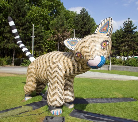 opossum: Exhibition and virtual visit on Mexico through a process high-tech. Mexico City live to be believed. In Paris, the Parc de la Villette France. from 4 to 22 July 2015. Here an Alebrije, a Opposum, Mexican traditional wooden figurine