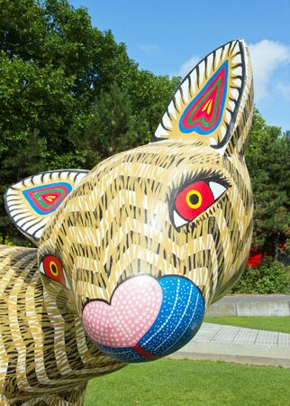 craftwork: Exhibition and virtual visit on Mexico through a process high-tech. Mexico City live to be believed. In Paris, the Parc de la Villette France. from 4 to 22 July 2015. Here an Alebrije, a Opposum, Mexican traditional wooden figurine