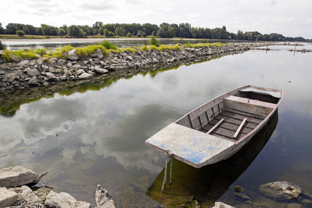 confluence: Bouchemaine landscape, the tip area of the confluence of the Maine and Loire France