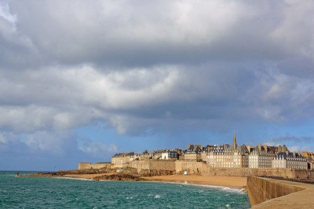 severe weather: View of the city of Saint-Malo, notice of severe weather Brittany France Editorial