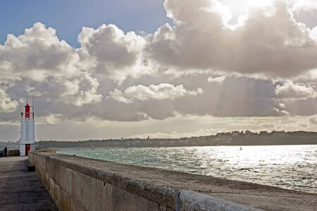 severe weather: Lighthouse of Saint-Malo, notice of severe weather Brittany France