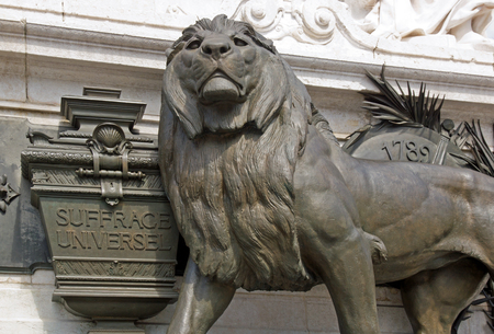 suffrage: The lion of universal suffrage statue of the Republic Paris France. Stock Photo