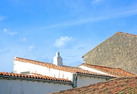 saint martin: Saint Martin de R roofs La Rochelle France Stock Photo