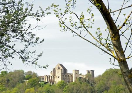 Chteau de la Madeleine entre deux arbres Vallée de Chevreuse, France Banque d'images - 53419627