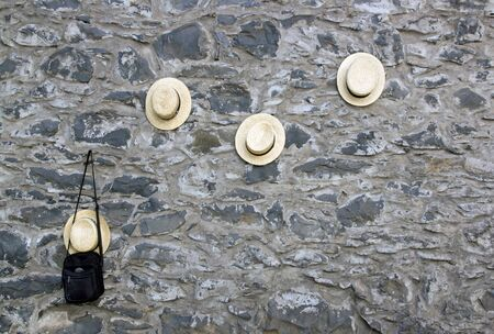 boater: The Wall hats men sleds, near the Church of Nossa Senhora do Monte, Madeira (Portugal). Stock Photo