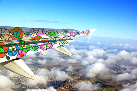 cheerfulness: flowery airplane wing. In a flight to elsewhere full of happiness and cheerfulness.