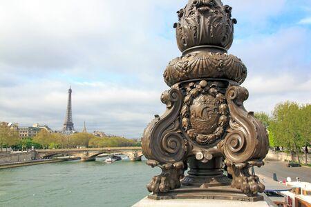 iii: Candelabra on the Alexandre III bridge. Fluctuat nec mergitur, emblem of Paris. (Paris, France) Stock Photo